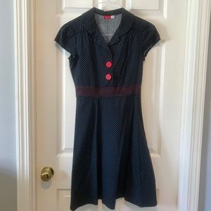 Blue & White Polka Dot Dress w/Red Buttons
